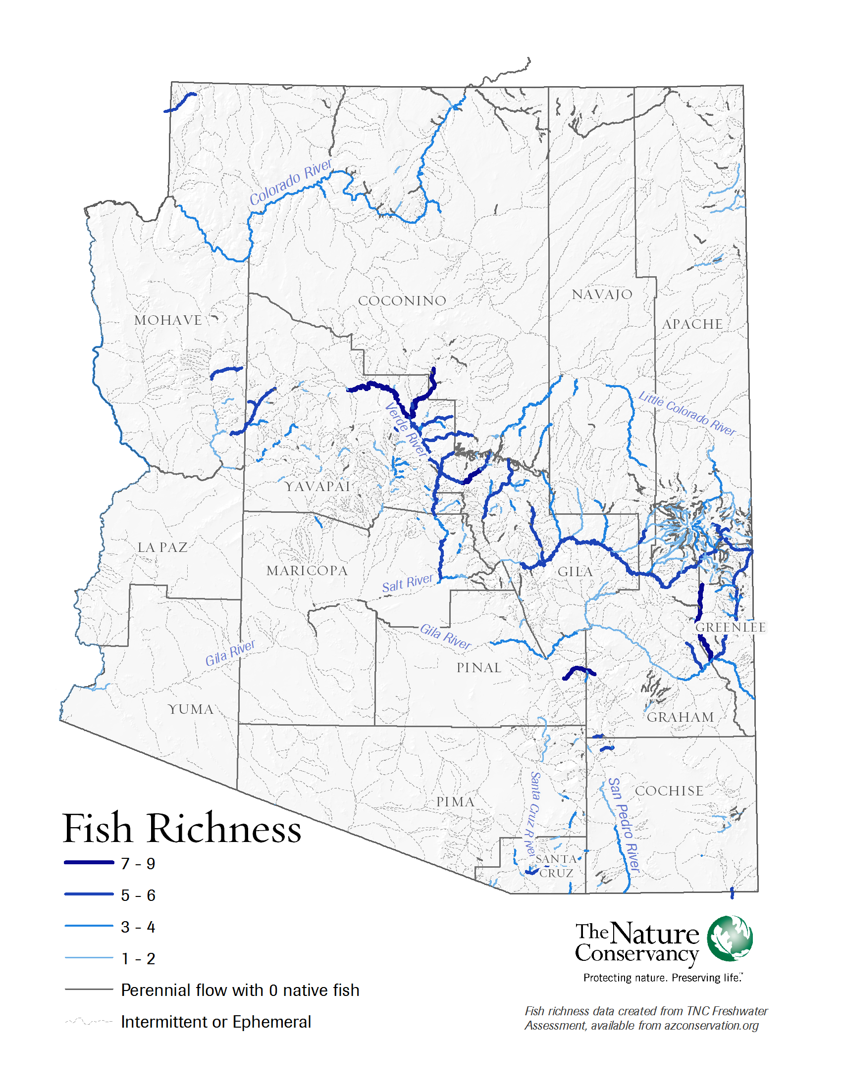 Arizona rivers fish richness map the nature conservancy for Best fishing in arizona