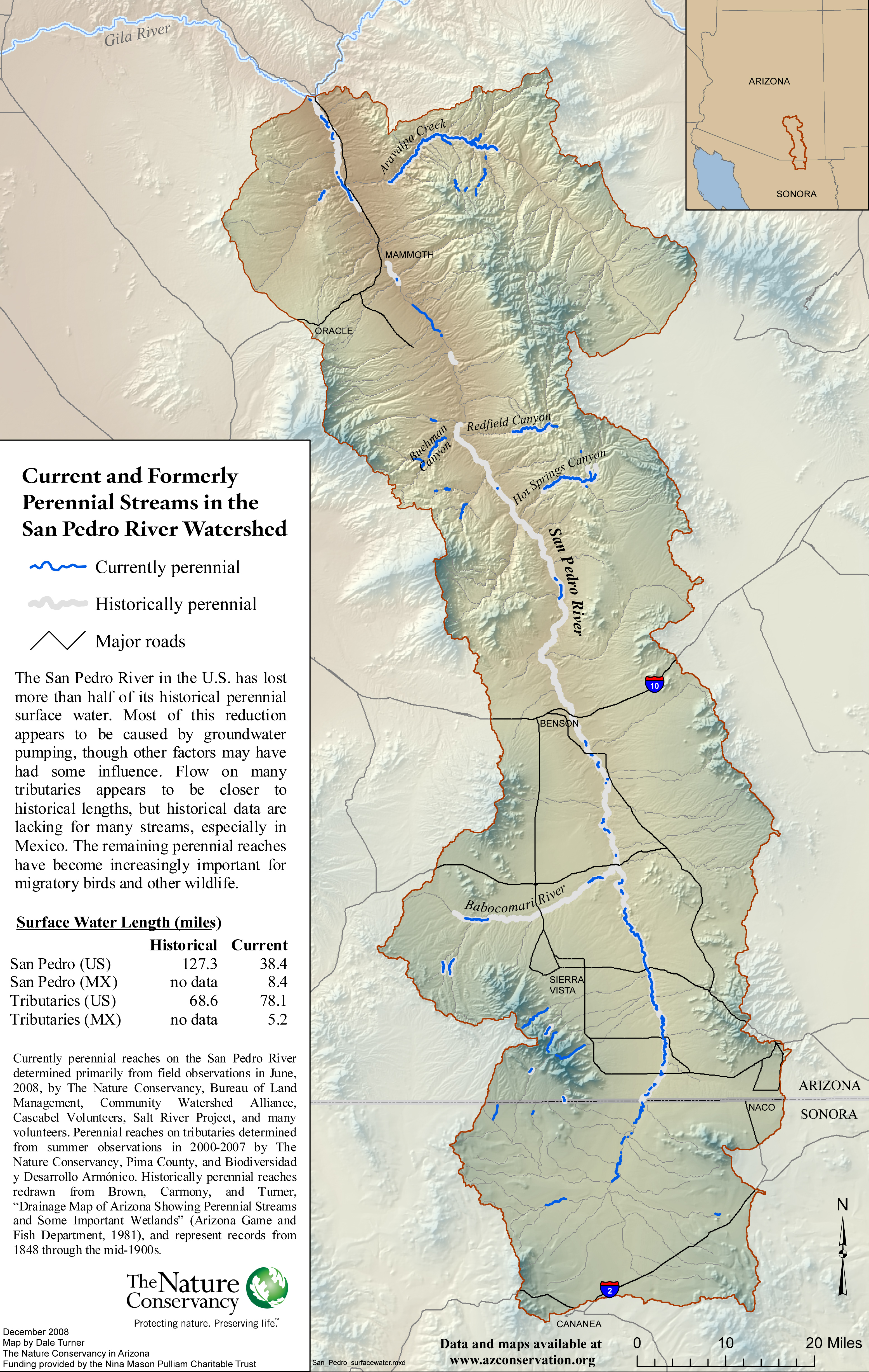 Current and formerly perennial San Pedro River surface water map ...